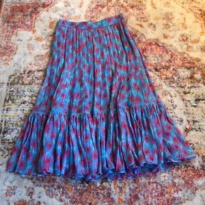 NWOT Kate Spade floral metallic pleated skirt